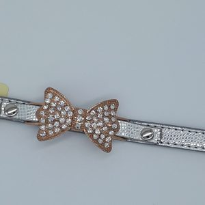 silver collar crystal bow